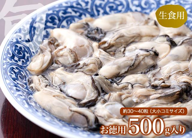 生食用生カキお徳用500gで約30〜40粒とお考え下さい。