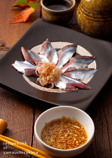 さんま刺身の薬味『生姜とネギのゴマポン酢』
