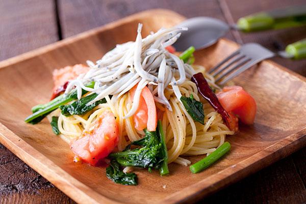 しらすと春野菜のパスタレシピ8