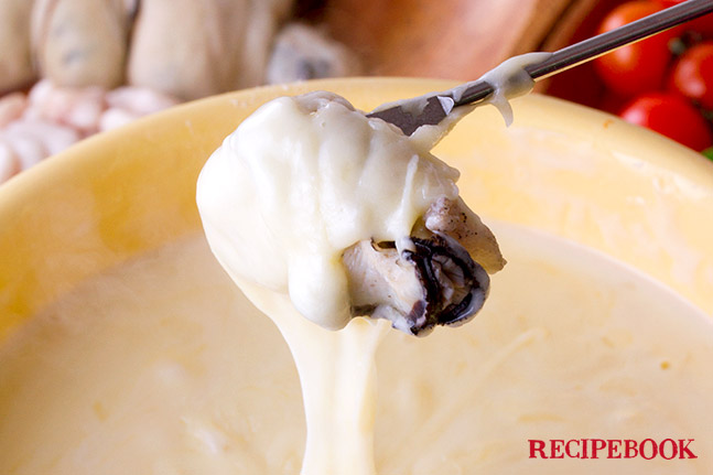 牡蠣のチーズフォンデュ