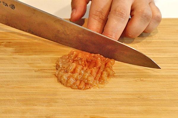 タコ刺身 薬味 梅わさび醤油レシピ1