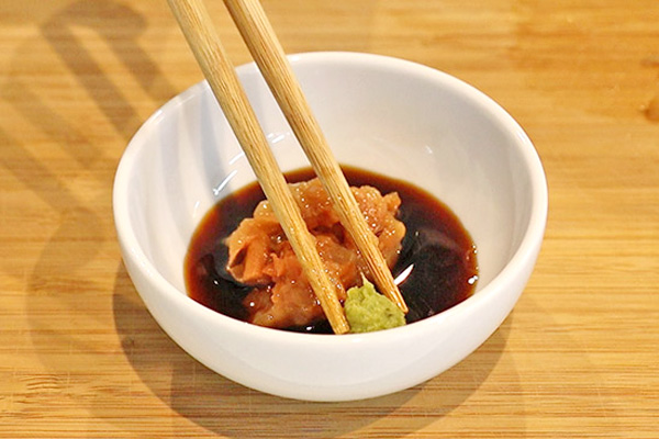 タコ刺身 薬味 梅わさび醤油レシピ2