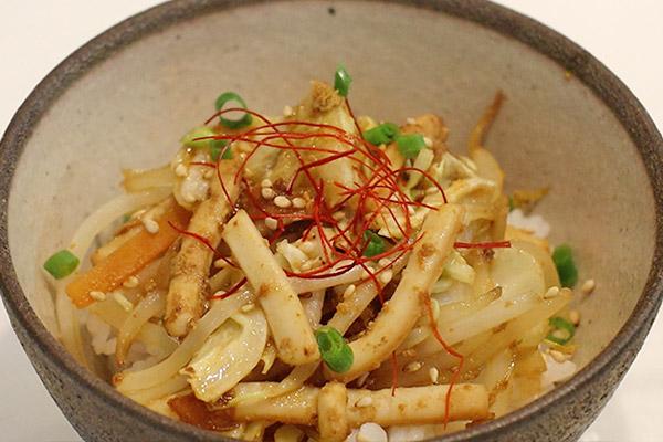 いか塩辛バター焼き丼レシピ7